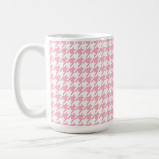 Bubble Gum Pink Houndstooth Coffee Mug