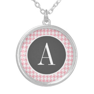 Bubble Gum Pink Houndstooth Personalized Necklace