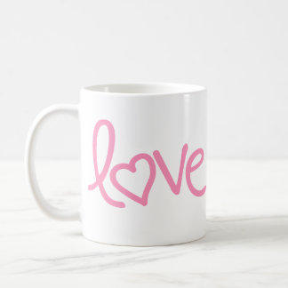 "bubble gum pink ""love"" coffee mug"