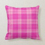 Bubble gum Pink Plaid  Throw Pillow