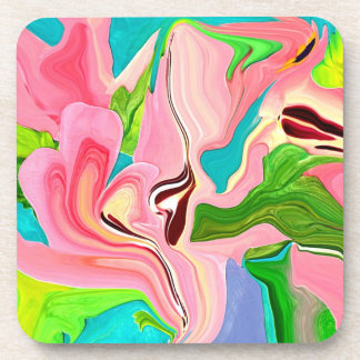 bubble gum pink retro art beverage coaster
