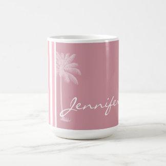 Bubble Gum Pink Stripes; Tropical Palm Coffee Mug