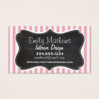Bubble Gum Pink Stripes; Vintage Chalkboard look Business Card