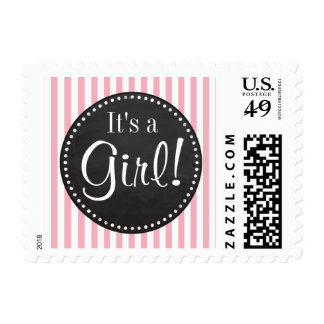 Bubble Gum Pink Stripes; Vintage Chalkboard look Postage Stamp