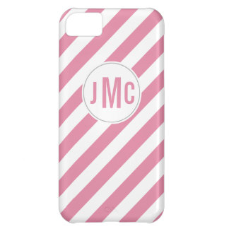 Bubble Gum Pink Stripes with Custom Monogram Case For iPhone 5C