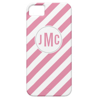 Bubble Gum Pink Stripes with Custom Monogram iPhone SE/5/5s Case