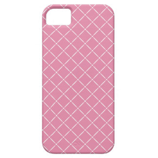 Bubble Gum Pink with White Quilted Pattern iPhone SE/5/5s Case