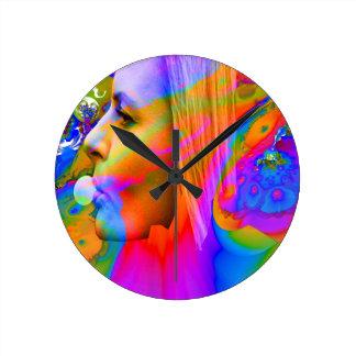 Bubble gum round clock