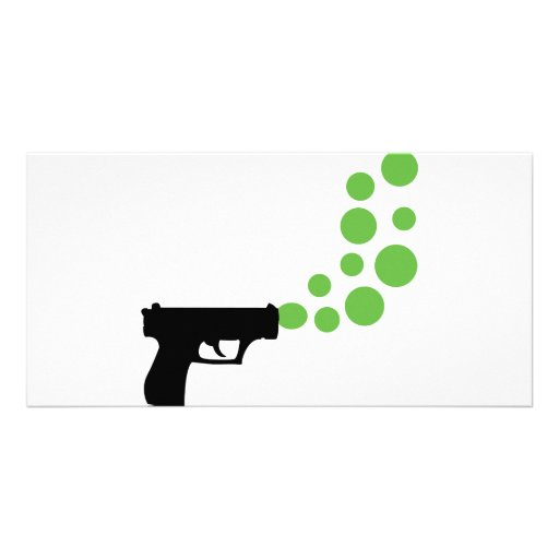 bubble gun with bubbles icon photo card