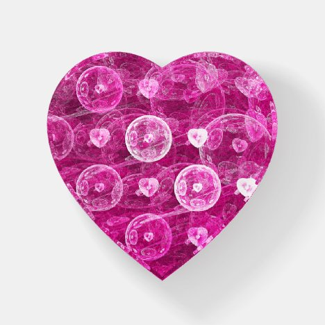 Bubble Hearts Fractal Paperweight