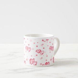 Bubble Hearts. Watercolor. Espresso Cup