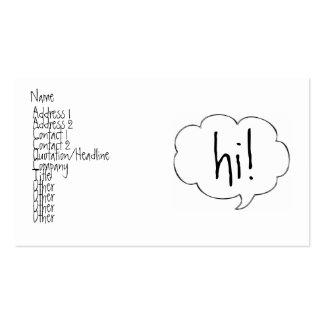 BUBBLE HI! profile card Business Card