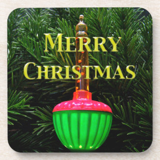 Bubble Light Merry Christmas Drink Coasters