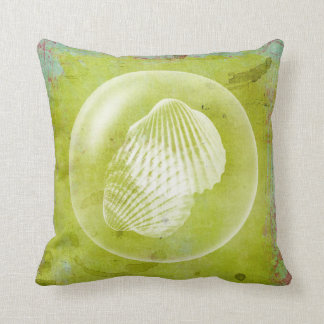 Bubble Of Seashells Lime Green Grunge Throw Pillow