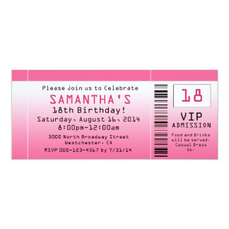 Bubble Pink Ticket Invitations