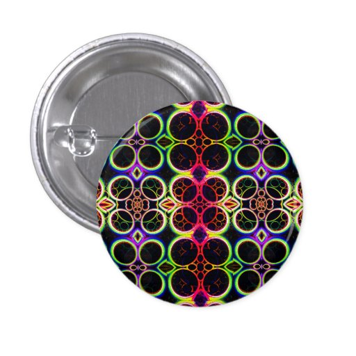 Bubble Rings Rainbow Holographic Effect Art Buttons