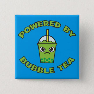 Bubble Tea, Powered By Bubble Tea - Cute Kawaii Button