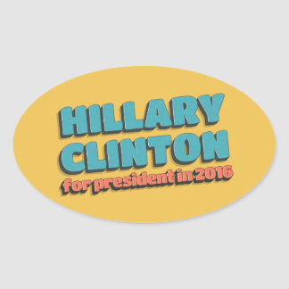 Bubble Text Hillary Clinton for President in 2016 Oval Sticker