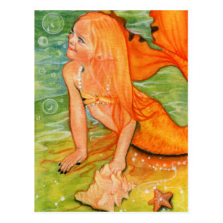 Bubble treasures mermaid postcard