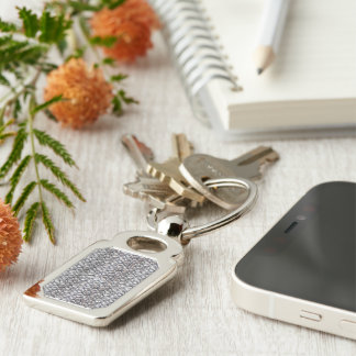 Bubble Wrap Background Silver-Colored Rectangular Metal Keychain