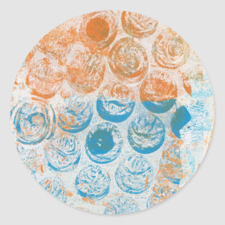 Bubble Wrap Texture Monoprint Classic Round Sticker