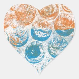 Bubble Wrap Texture Monoprint Heart Stickers