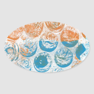 Bubble Wrap Texture Monoprint Oval Sticker