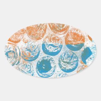 Bubble Wrap Texture Monoprint Oval Stickers