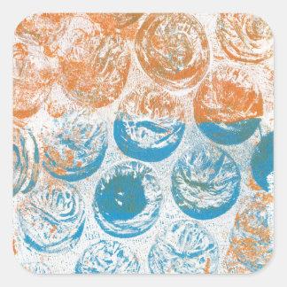Bubble Wrap Texture Monoprint Square Sticker