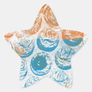 Bubble Wrap Texture Monoprint Star Sticker
