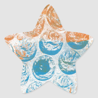 Bubble Wrap Texture Monoprint Star Stickers