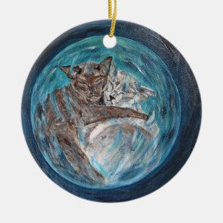 Bubblecats in Cyberspace Ceramic Ornament