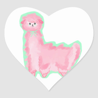 Bubblegum Alpaca Heart Sticker