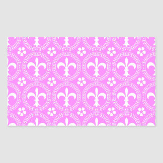 Bubblegum And White Fleur De Lis Pattern Rectangular Sticker