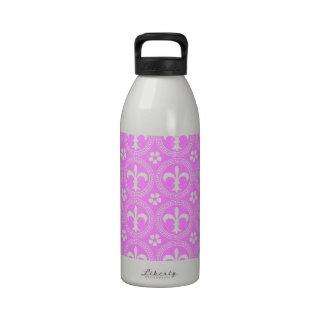 Bubblegum And White Fleur De Lis Pattern Reusable Water Bottle