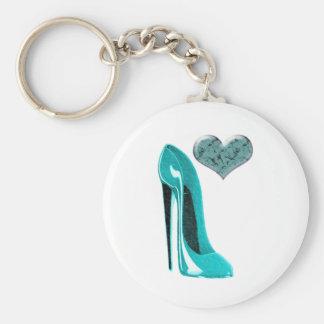 Bubblegum Blue Stiletto Shoe and 3D Heart Art Basic Round Button Keychain