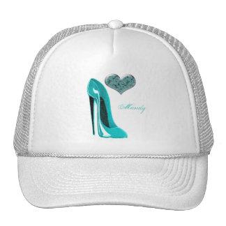 Bubblegum Blue Stiletto Shoe and 3D Heart Art Trucker Hat