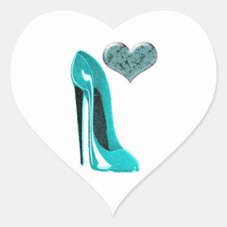 Bubblegum Blue Stiletto Shoe and 3D Heart Heart Sticker