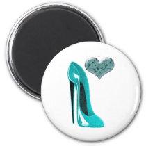Bubblegum Blue Stiletto Shoe and 3D Heart Magnet