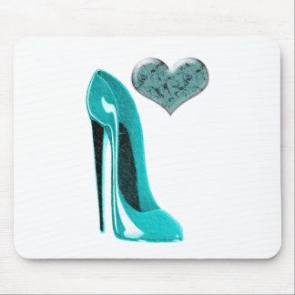 Bubblegum Blue Stiletto Shoe and 3D Heart Mouse Pad