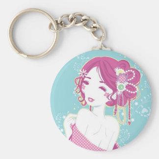 Bubblegum Geisha Basic Round Button Keychain