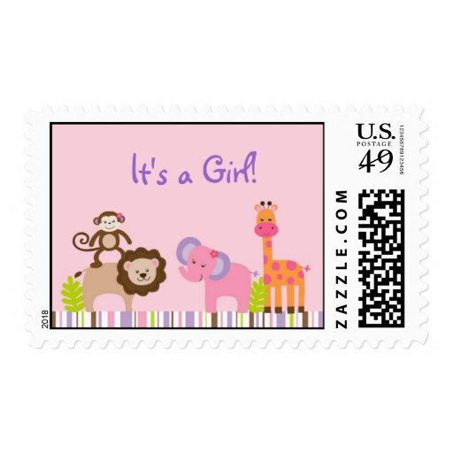 Bubblegum Jungle Animal It's a Girl Postage Stamps