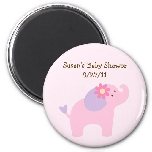 Bubblegum Jungle Elephant Baby Shower Magnet