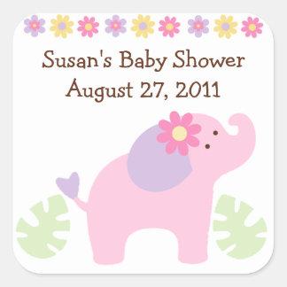 Bubblegum Jungle Elephant Stickers/Envelope Seals Square Sticker