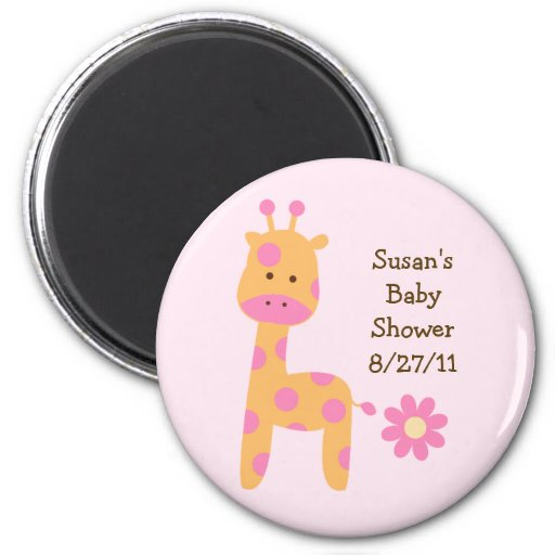 Bubblegum Jungle Giraffe Baby Shower Magnet