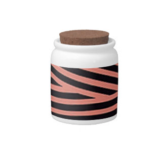 Bubblegum Pink and Black Hacky Stripes Candy Jar