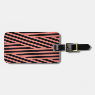 Bubblegum Pink and Black Hacky Stripes Luggage Tag