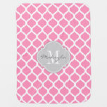 Bubblegum Pink And White Chevron With Monogram Baby Blanket at Zazzle