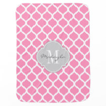 Bubblegum Pink and White Chevron with Monogram Baby Blanket