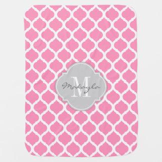 Bubblegum Pink and White Chevron with Monogram Baby Blanket